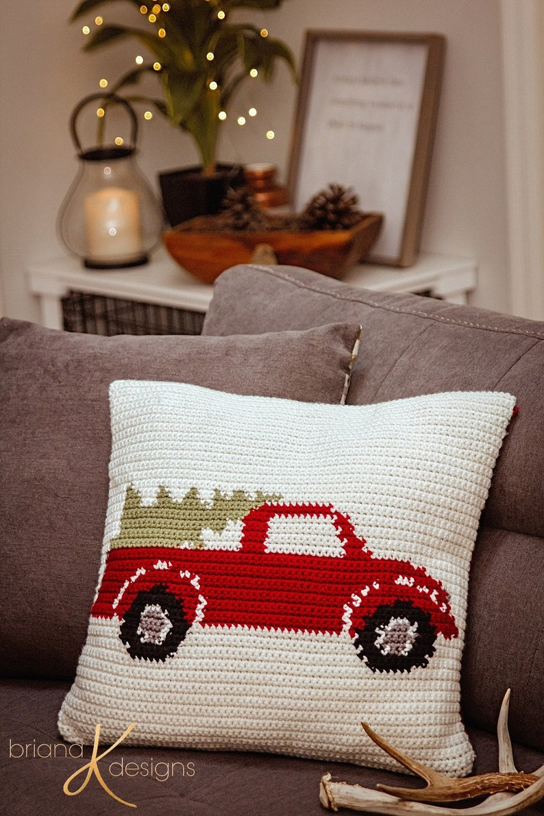 Farmhouse Truck Pillow Cover Christmas Decor Instant Download image 0