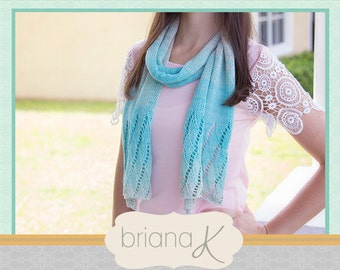 Beach Knit Scarf PATTERN, Instant Download, Women's Shawl Accessory