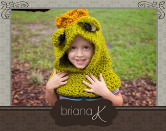 Frog Prince Hooded Cowl PATTERN - Instant Downlaod- Sizes 1-3 years (4-7 years, 8-12 years, teen/adult)
