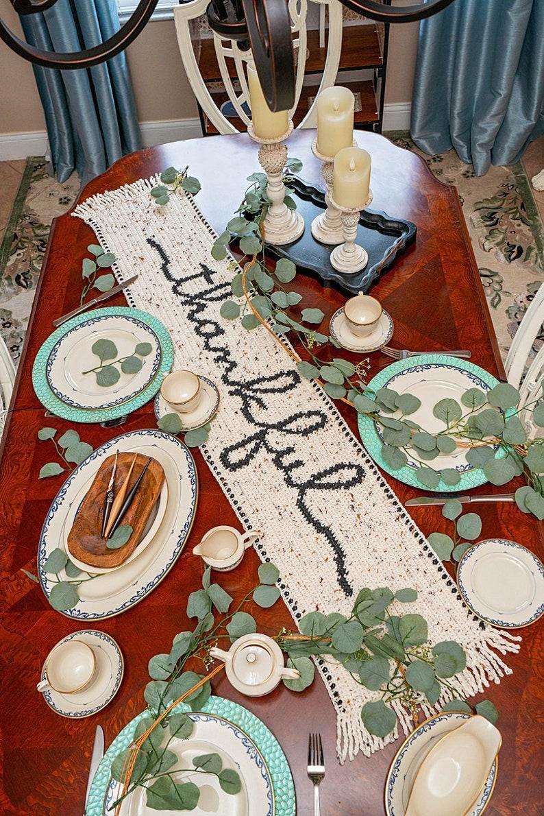 Thankful Crochet Table Runner Pattern Home Decor Instant image 0