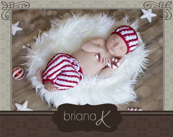 Candy Cane Hat and Pants Newborn to Child Size PATTERN Instant Download