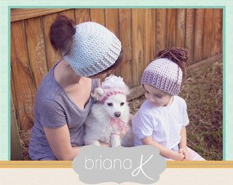 Crochet Pattern Messy Bun Pony Tail Hat + Puppy, Instant Download, baby, dog, puppy, child, adult, easy to follow crochet pattern