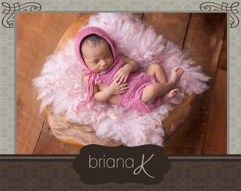 Knit PATTERN Instant Download, Newborn- 18 Month Sweet Onesie Romper & Bonnet