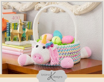 Unicorn Easter Basket Crochet PATTERN Instant Download, Toy Storage Basket