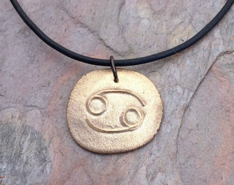 Cancer pendant zodiac symbol necklace artisan copper or bronze