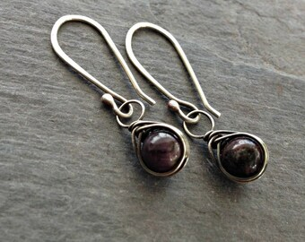 Wire wrapped ruby earrings handmade sterling silver jewelry July birthstone gift