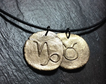 Bronze anniversary gift Astrological signs necklace