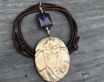 Ganesha Necklace, Handmade Bronze Pendant with Amethyst and Silver, gift for her, removal of obstacles, elephant jewelry