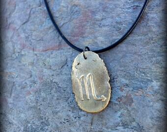 Scorpio jewelry zodiac symbol pendant The Scorpion necklace - Written in the Stars - artisan bronze astrology jewelry star signs