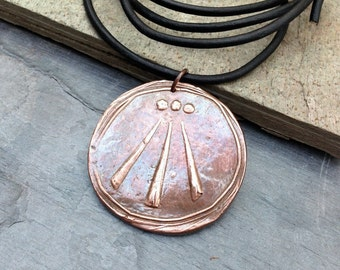 Awen pendant, handmade copper on leather or cotton, men's jewelry, gift for him, gift under 50