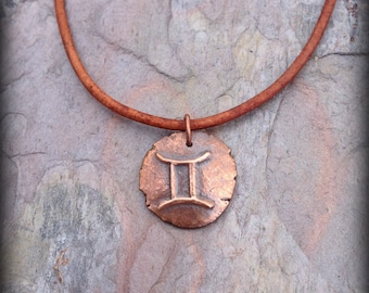Gemini pendant zodiac symbol necklace several cord options astrological sign jewelry The Twins
