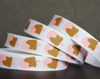 Grosgrain printed Ribbon 75mm 1 Yard Strawberry /& Cream Ice Cream Sprinkles
