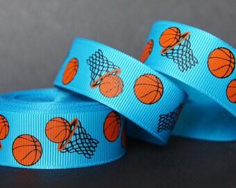 "10Yd Sporty BasketBall 7/8"" Vivid Blue Grosgrain Ribbon"