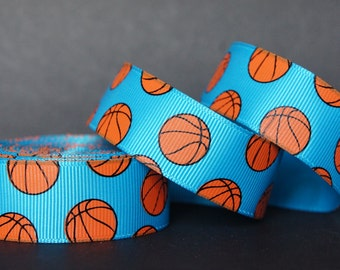 "10Yd Basketball Pattern 7/8"" Vivid Blue Grosgrain Ribbon"