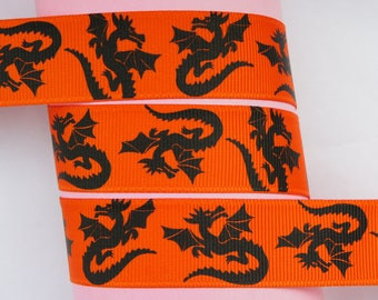 "10Yd Black Dragon 7/8"" Orange Grosgrain Ribbon"