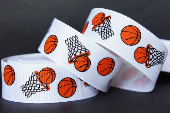 "basketball ribbon 7//8/"" basketball ribbon Basketball hairbows Girls Basketball"