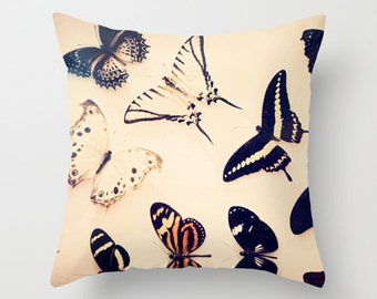 Butterfly pillow - Chic Home Decor  - Vintage Photograph throw pillow - Spring Home Decor