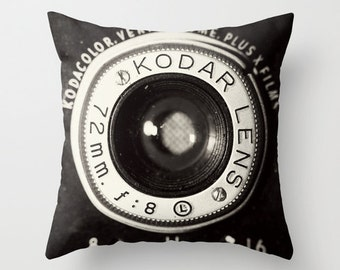 12x18 Or 16x16 Vintage Camera Pillow Cover Light Gray And