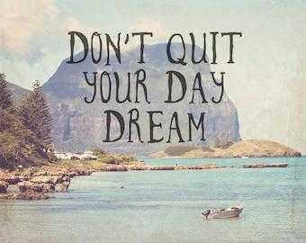 Travel Art - inspirational quote -  Australian art - vintage style photography - gift for traveler - wanderlust - daydream - nature - ocean