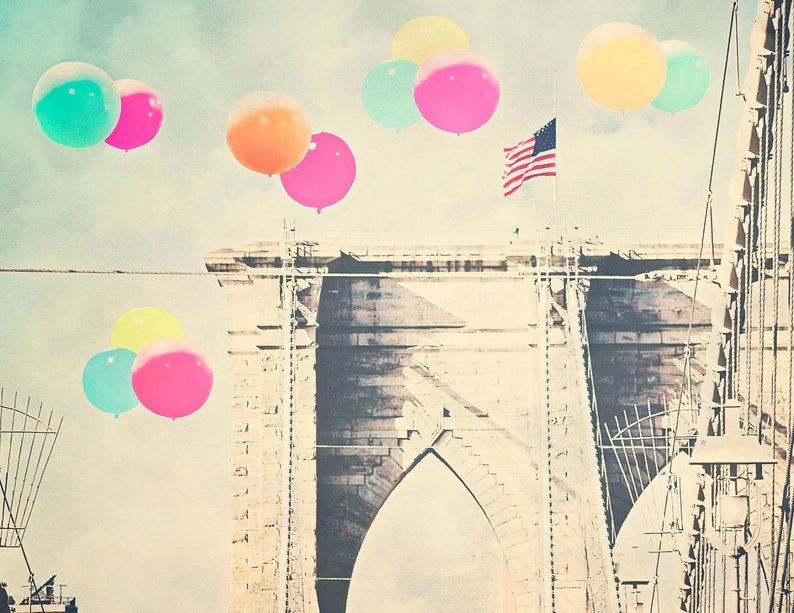 Brooklyn Bridge  8x10 photograph  Bright Balloons over image 0