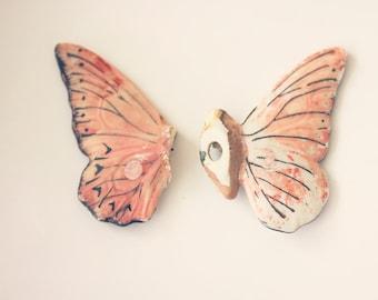 Pink Butterfly - 8x10 photograph - fine art print - toy butterfly - nursery art - found item - broken wings