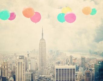 New York Photography - Pastel Balloons - art for kids - modern photography - Manhattan  - New York skyline - balloons - city artwork