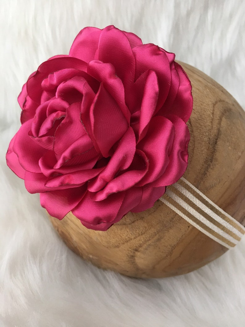Hair Accessory|Satin Rose Headband Gold Striped Headband|Baby Girl Headband|Red Magenta Rose|Vintage Circus|Photography Prop|Infant Toddler
