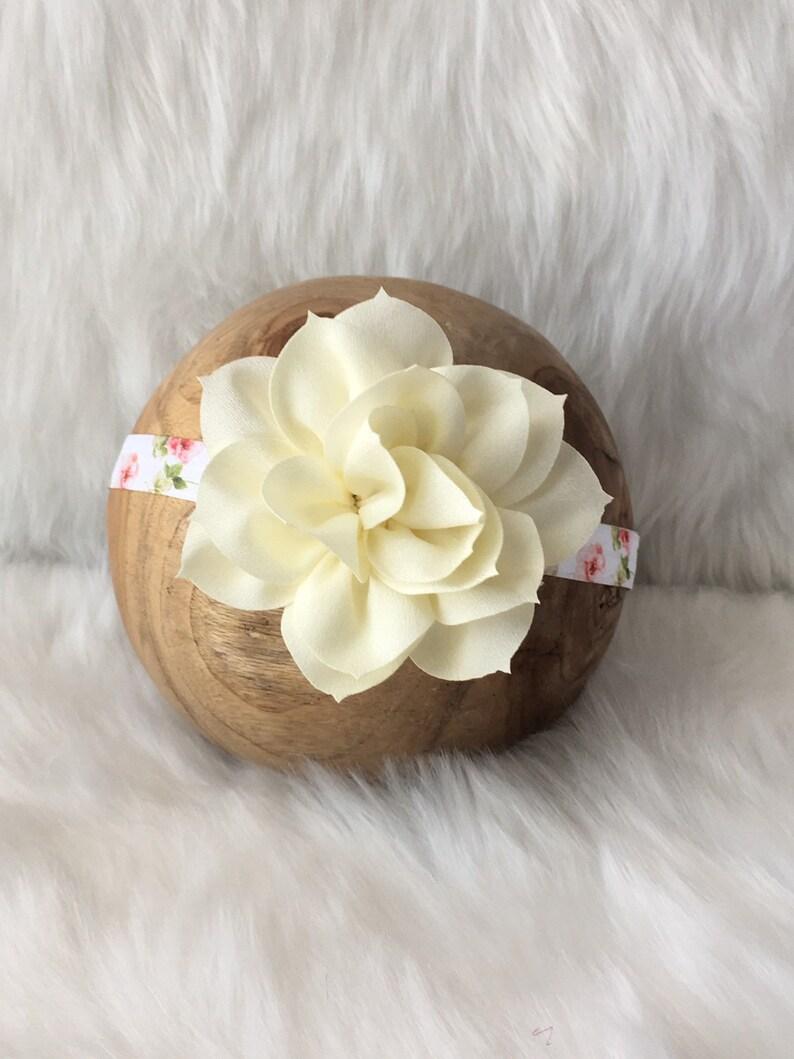 Antique Cream Lotus Headband|Pale Rose Print Headband|Vintage Cream|Headband Prop|Bohemian Flower Headband|Rose Headband|Birthday Headband