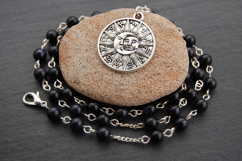 Midnight Magic - Blue Goldstone Witch's Ladder/Prayer Beads/Necklace  Pagan  Druid Wicca Witch Astrology Sun Moon Zodiac Signs Stars Star