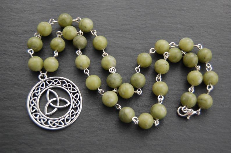 5fbc753267db2 Green Connemara Marble Triple Celtic Knot Necklace. Pagan Wicca Witch Druid  Ireland Irish Erin Sidhe Brigid Brigit Brighid Bridget Bride
