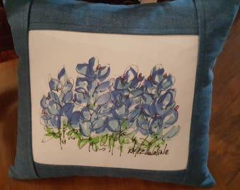 Reversible Denim Bluebonnet Pillow