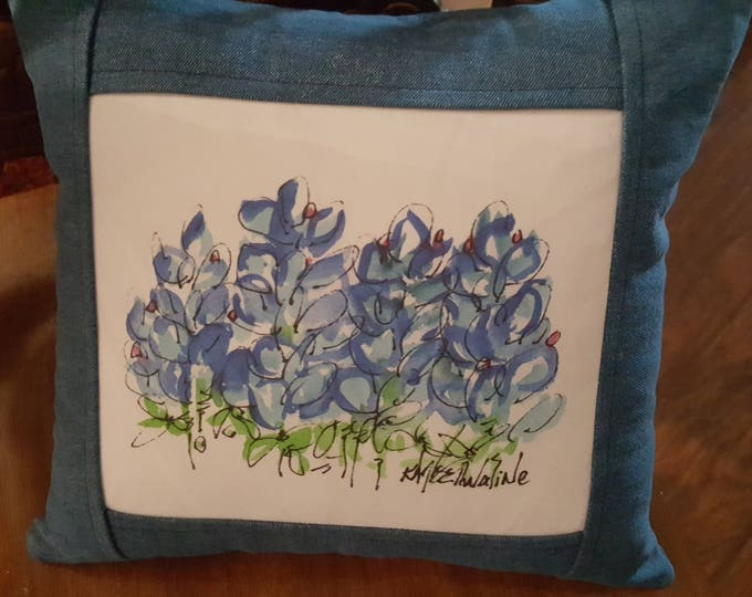 Reversible Denim Bluebonnet Pillow