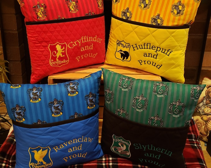 "Novelty Embroidered Book/Reading Pillows with ""Hogwarts House Logos and Saying"""