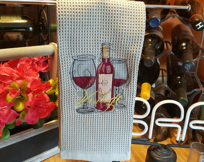 Merlot Wine Bottle and Glasses Novelty Hand Towel