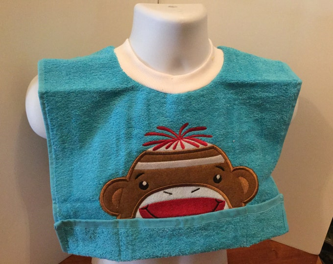 Sock Monkey Terry Cloth Toddler Towel Bib