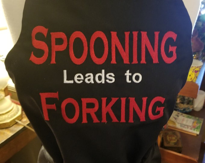 "Novelty Naughty Apron ""Spooning Leads To Forking"""