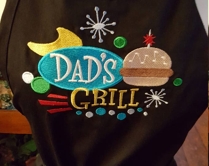 "Adult Novelty Apron with ""Dad's Grill"" Embroidery Design"