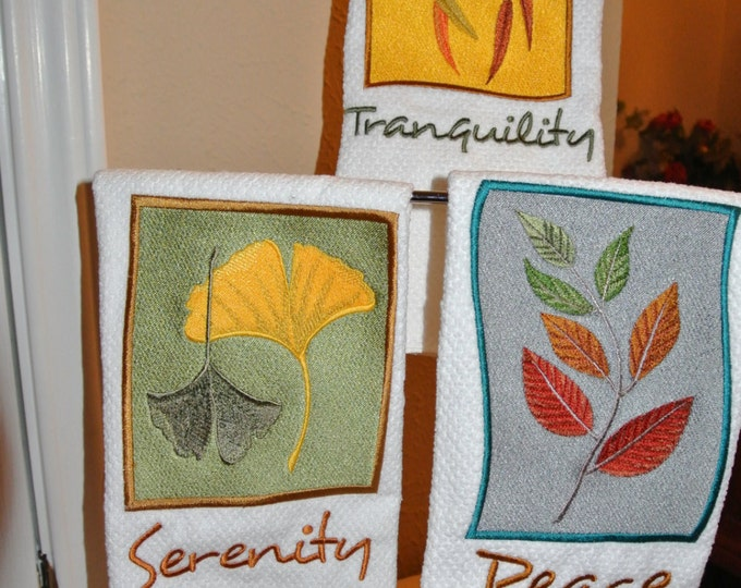 "Decorative Embroidered Hand Towels ""Tranquility, Serenity, Peace"""
