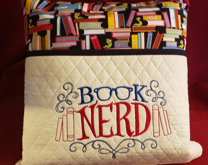 "Novelty Embroidered Pocket Reading/Book Pillow: ""Book Nerd"""