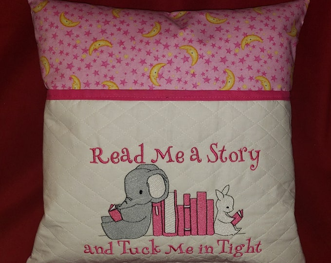 "Novelty Girl's Embroidered Reading/Book Pocket Pillow: ""Read Me a Book and Tuck Me In Tight"""