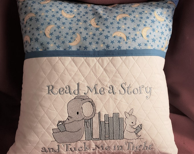 "Novelty Boy's Nursery Embroidered Reading/Pocket Pillow: ""Read Me a Story and Tuck Me In Tight"""