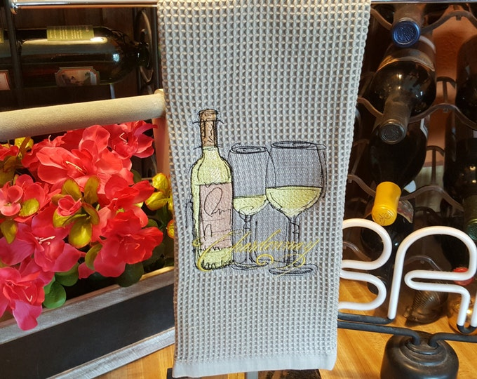 Chardonnay Wine Bottle and Glasses Novelty Hand Towel