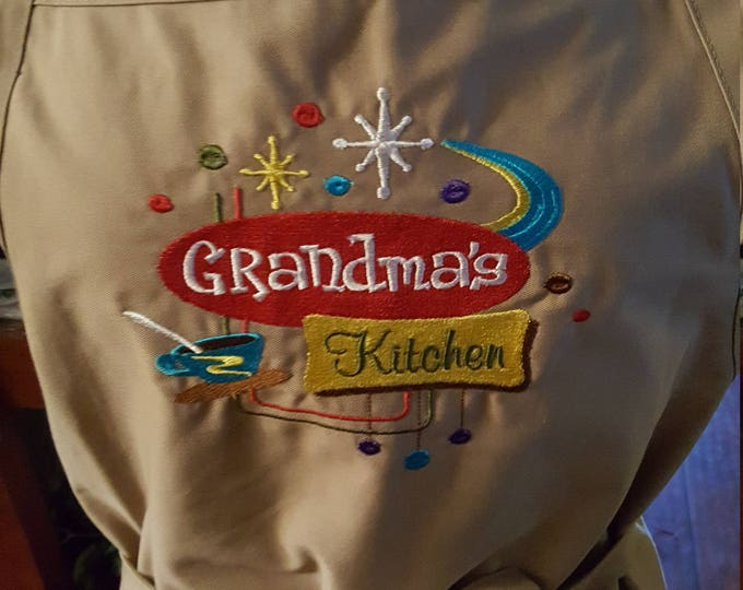 "Adult Novelty Apron with ""Grandma's Kitchen"" embroidery design"