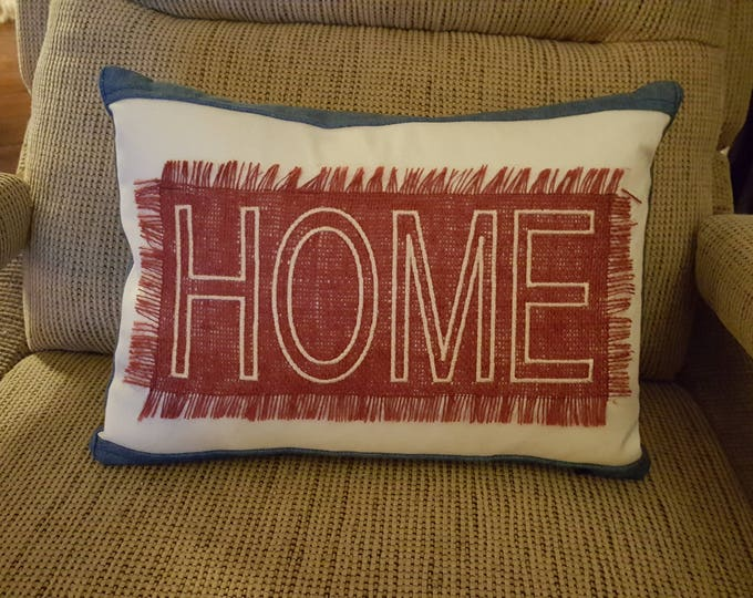 Home Embroidered Denim Pillow