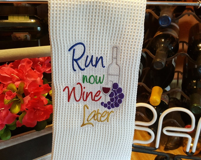 Run Now Wine Later Novelty Hand Towel