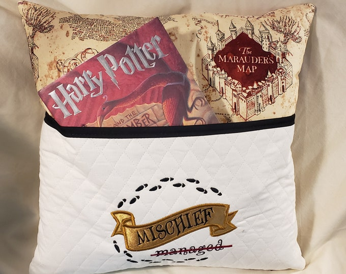 "Novelty Embroidered Pocketed Reading/Book Pillow ""Mischief Managed"""