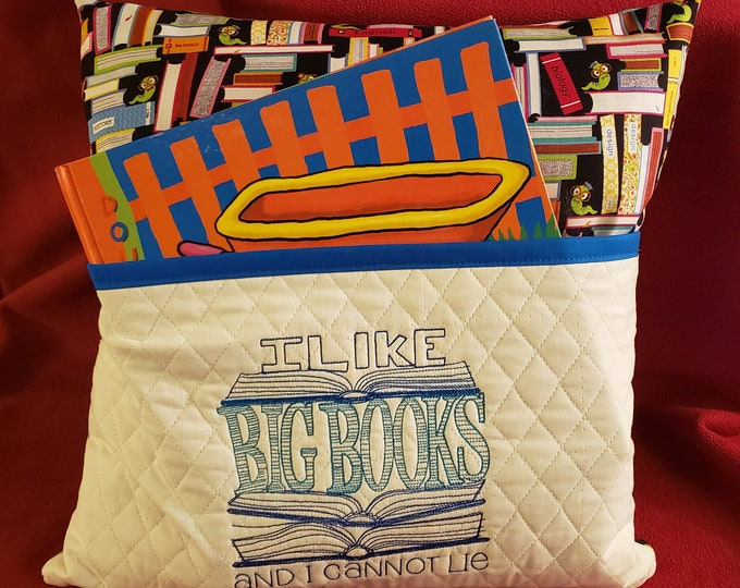 "Novelty Embroidered Reading/Book Pillow: ""I Like Big Books I Cannot Lie"""