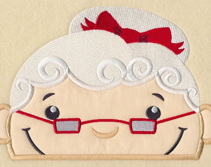 "Holiday ""Peeking Ms. Santa"" Towel Bib"
