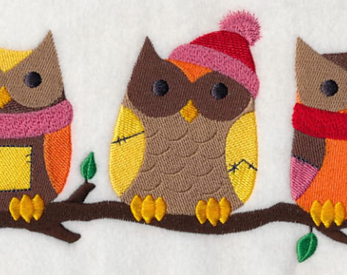 "Winter ""Owls on a Branch"" Embroidered Sweatshirt"