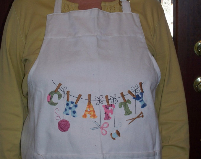 "Adult Machine Embroidered Apron ""Crafty"""